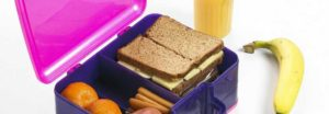 Lunchbox with sandwich and banana